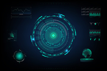 Futuristic. Design of  futuristic sci fi interface and background in blue color