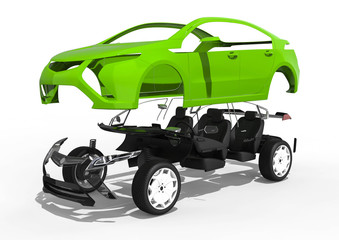 Car assembly / 3D render image representing a car in parts