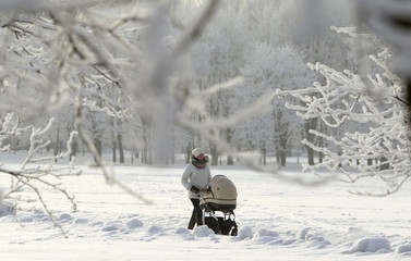 A woman walks with a pram in a park as temperatures dropped to around minus 14 degrees Celsius in Minsk