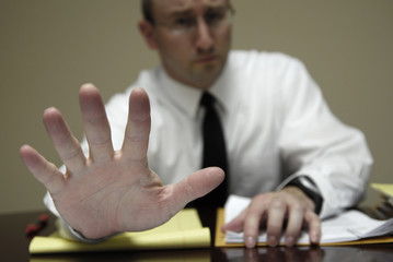 Young Lawyer Attorney At Desk Businessman Negotiations