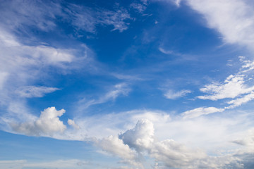 Cirrus cloud and cirrocumulus cloud with blue sky background at 35 mm