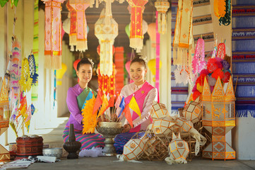 Asian woman wearing traditional thai culture lanna style,vintage style,chaingmai Thailand