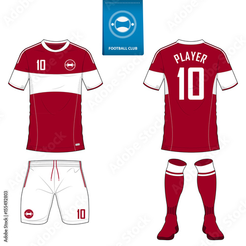 Set of soccer kit or football jersey template for football club. Short  sleeve football shirt c14c95a65