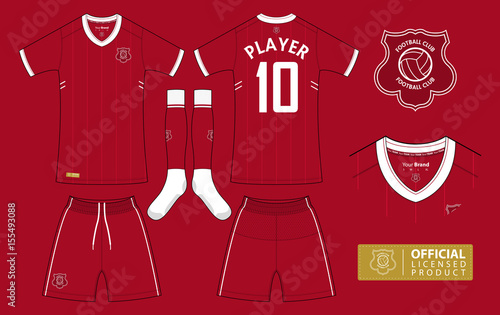 Set of soccer kit or football jersey template for football club. Short  sleeve football shirt mock up. Front and back view soccer uniform and flat  football ... ffb019302