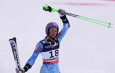 Second placed Tina Maze of Slovenia celebrates her their women's super combined race at the World Alpine Skiing Championships in Schladming
