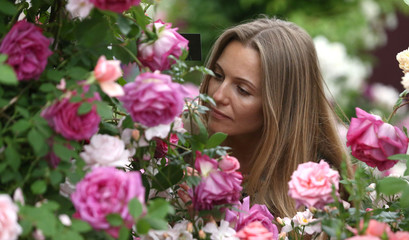 A woman smells roses at the RHS Chelsea Flower Show in London