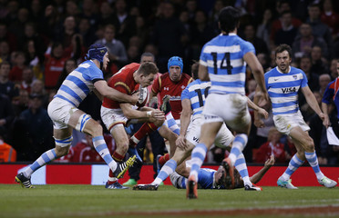 Wales' Liam Williams runs in before scoring their first try