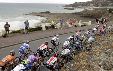 The pack rides during the fifth stage of the Tour de France 2011 cycling race from Carhaix to Cap Frehel
