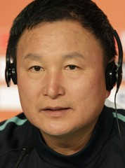 South Korea's national soccer team coach Huh looks on during a news conference in Port Elizabeth
