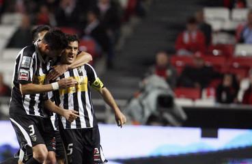 Portimonense's Ricardo Pessoa celebrates his goal against Benfica with teammate Andre Pinto during their Portuguese Premier League soccer match at Luz stadium