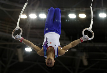 Japan's Kamoto competes in the men's rings final of the artistic gymnastics competition during the 17th Asian Games in Incheon