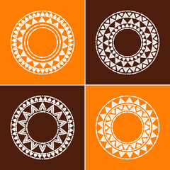 Tribal round frames collection vector. African, mexican, Peruvian or Aztec sun decorative elements. Black contour unique design for tribes logos, badge, labels or boho tattoo.