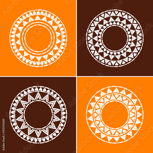 Tribal round frames collection vector. African, mexican, Peruvian or ...