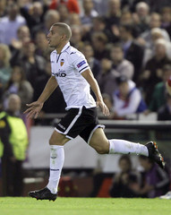 Valencia's Sofiane Feghouli celebrates after scoring a goal against Bayern Munich during their Champions League Group F soccer match at Mestalla stadium in Valencia