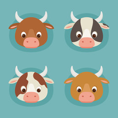 Four cute cartoon cow heads