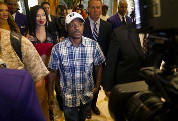Undefeated WBO welterweight champion Bradley Jr. arrives at the Wynn Las Vegas Resort in Las Vegas