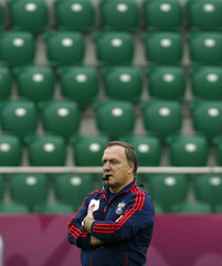 Russia's national soccer coach Advocaat attends a training session during the Euro 2012 at city stadium in Wroclaw