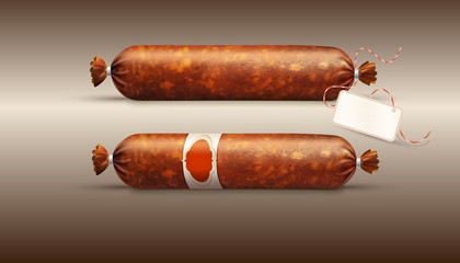 Vector object. Smoked sausage (salami) in realism style, isolated on a brown background. Element for design