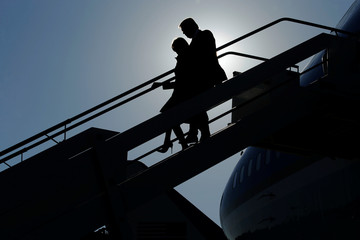 Trump and the first lady arrive aboard Air Force One at Leonardo da Vinci-Fiumicino International Airport in Rome, Italy