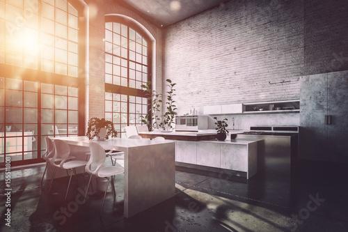 moderne design k che in altem industrie loft 155511808. Black Bedroom Furniture Sets. Home Design Ideas