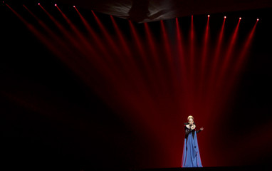 """Rona Nishliu of Albania performs her song """"Suus"""" during a rehearsal for the finals of the Eurovison Song Contest in Baku"""