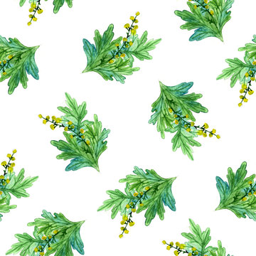 Hand drawn watercolor botanical illustration of the wormwood plant. Seamless pattern