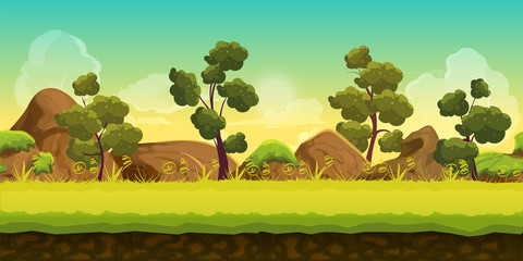 Forest and Stones 2d game Landscape for games mobile applications and computers. Vector illustration for your design.Ready for parallax effect.