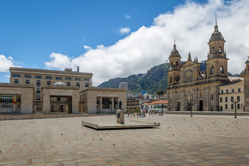 Bolivar Square with Cathedral and Colombian Palace of Justice - Bogota, Colombia