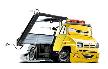 Vector Cartoon Tow Truck. Available EPS-10 vector format separated by groups and layers for easy edit.