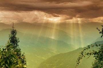 Sun shine from Cloud burst - Sikkim , India