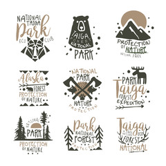 National park eco club labels set. Nature protection hand drawn vector Illustrations