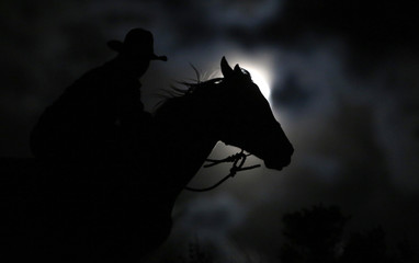 "Wrangler Nate Cummins rides by moonlight, the night before the ""Super Moon"" during Montana Horses' annual horse drive outside Three Forks"
