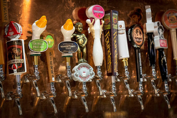 File photo of craft beers at a bar in New York New York