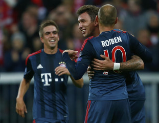 Munich's Mandzukic celebrates against CSKA Moscow during their Champions League group D first leg soccer match in Munich
