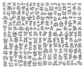 mega set of 200 black and white hand lettering