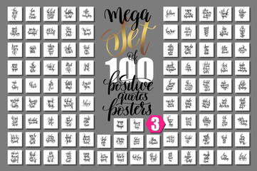 Zelfklevend Fotobehang Positive Typography mega set of 100 positive quotes posters, motivational and inspir