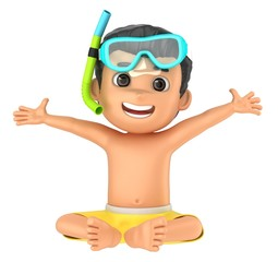 3d render of a kid wearing swimwear and goggles sitting and arms wide open