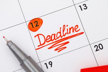 Reminder Deadline in calendar with red pen