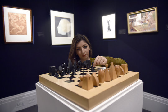 'Chess Set,' by man Ray, part of British pop star Bowie's art collection, is exhibited in a press view at Sotheby's auction house, in central London