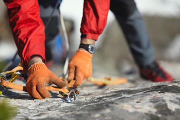 Foto op Aluminium Alpinisme Details climbing equipment close-up.