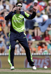 Ireland's George Dockrell reacts after bowling to the West Indies during their Cricket World Cup match in Nelson