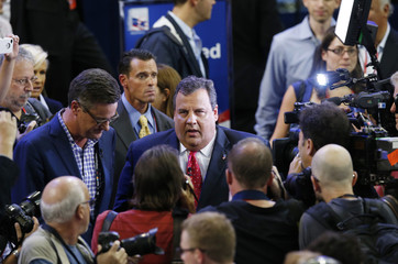 Republican National Convention keynote speaker and New Jersey Governor Chris Christie is surrounded by media on convention floor in Florida