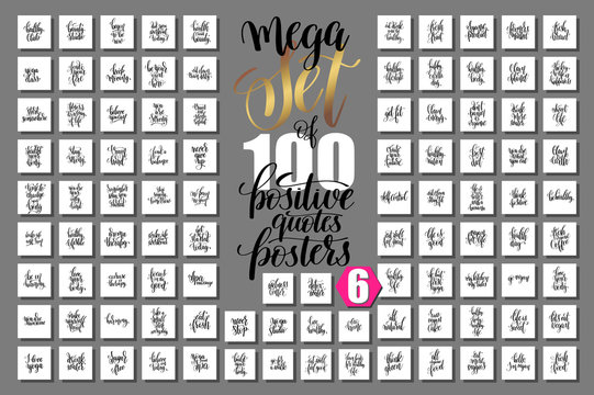 mega set of 100 hand lettering quotes about fitness and healthy