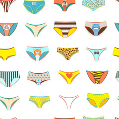 Funny female panties pattern of different kinds