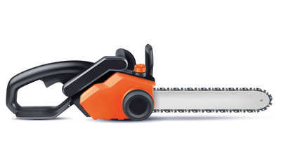 Chainsaw isolated on white. Vector 3d illustration