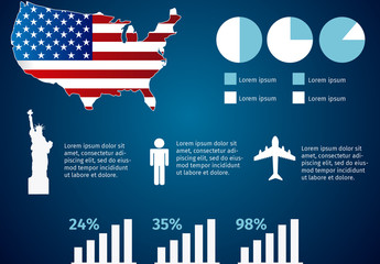 USA Data Infographic with Icon Set 1