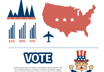 USA Voting Data Infographic with Icon Set 1