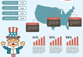 USA Infographic with Cartoon Elements 1