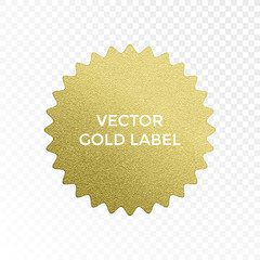 Vector gold label star multi point golden glitter texture vector isolated icon