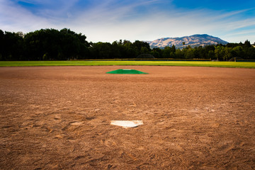 Baseball Diamond From Behind Home Plate